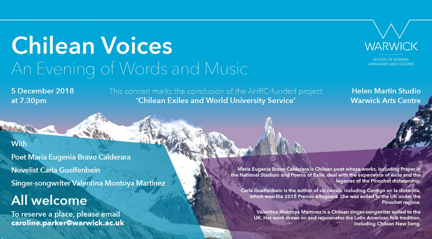 Chilean Voices: Events at University of Warwick, 4-5 December 2018