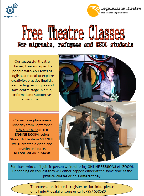 LegalAliens Theatre: Free Theatre Classes for Migrants, Refugees and ESOL Students